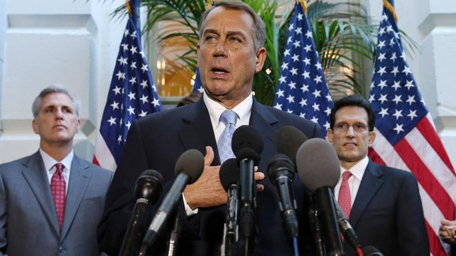 House Speaker John Boehner speaks during a press conference that only sparked more questions.