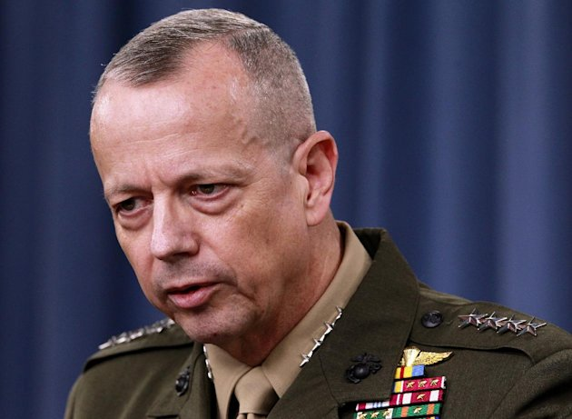 FILE - In this March 26, 2012 file photo, Marine Gen. John Allen speaks during a news conference at the Pentagon. President Barack Obama says he has accepted Allen&#39;s request to retire from military. (AP Photo/Haraz N. Ghanbari, File)