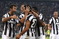 Jonathan Moscrop / LaPresse 22 09 2012 Turin ( Italy ) Sport Soccer Juventus versus Chievo Verona - Italian Serie A Soccer League 2012/2013 - Juventus Stadium In the Photo: Juventus players celebrate after Fabio Quagliarella's goal gave the side a 1-0 lead