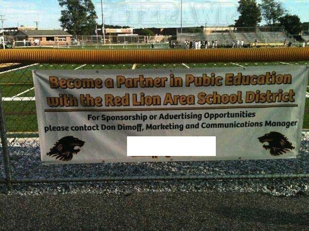 The Red Lion School District's unfortunate athletic sponsorship sign. The school contact's information has been redacted for his protection — Twitte...