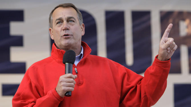 U.S. House Republican Leader John Boehner speaks during a rally at the Muskingum County Fairgrounds Saturday, Oct. 30, 2010, in Zanesville, Ohio. (AP Photo/Jay LaPrete)