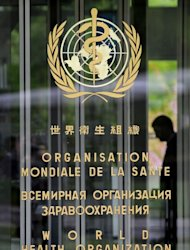 The entrance of the World Health Organisation (WHO) headquarters in Geneva