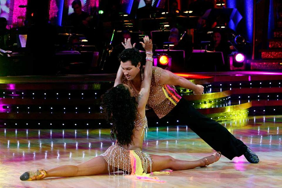 Melanie Brown and [ytvperson id=2187851]Maksim Chmerkovskiy perform a dance on the 5th season of Dancing with the Stars.