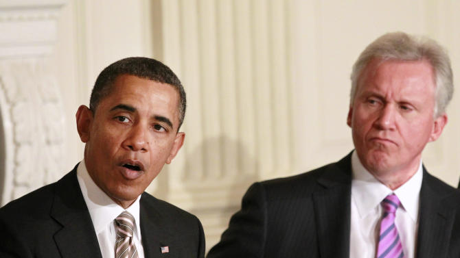 FILE - In this Jan. 17, 2012, file photo, General Electric Chairman and CEO Jeff Immelt listens at right as President Barack Obama meets with the Council on Jobs and Competitiveness in the State Dining Room of the White House in Washington. Obama's jobs council is expiring, and there are no signs he plans to renew it. Obama created the council in 2011 and filled it with prominent business leaders and economists. The panel offered advice on accelerating job creation, but the president only met with the council a handful of times. (AP Photo/Haraz N. Ghanbari, File)