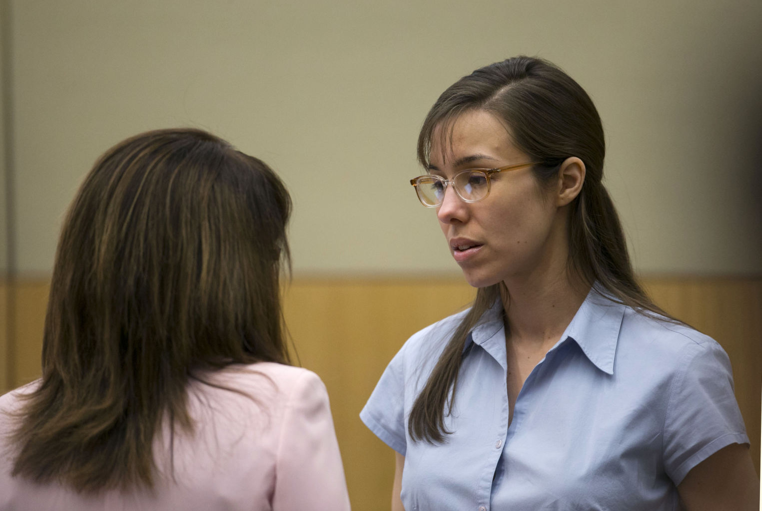 Arias, right, talks to her attorney, Jennifer Wilmott during her trial ...