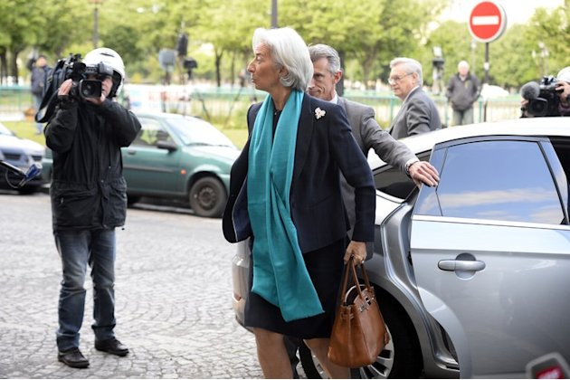 Head of the IMF, Christine Lagarde, arrives at the Court of Justice of the Republic (CJR) in Paris on May 23, 2013
