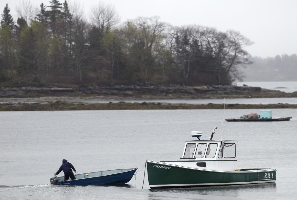 A fisherman motors his skiff out to a  lobster boat moored in Friendship, Maine, Thursday, May 10, 2012. Two lobster boats in the harbor were recently sunk by vandals. (AP Photo/Robert F. Bukaty)