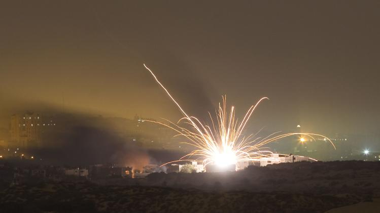 An Israeli rocket is fired into the northern Gaza Strip