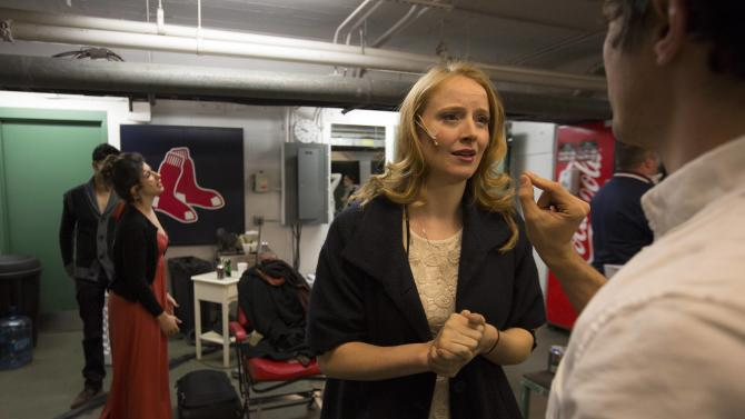 "Actors rehearse in the Red Sox training room before taking  the stage during the Commonwealth Shakespeare Company's production ""Shakespeare at Fenway"" at Fenway Park in Boston"