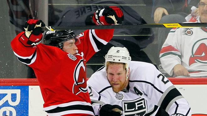 Zach Parise #9 Of The New Jersey Devils Collides Getty Images