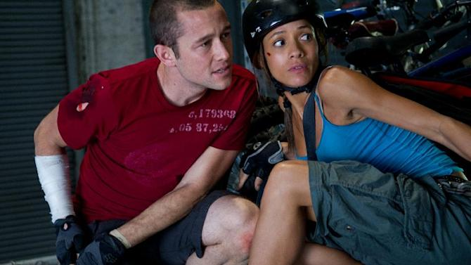"This film image released by Columbia Pictures shows Joseph Gordon-Levitt, left, and Dania Ramirez in a scene from ""Premium Rush."" (AP Photo/Columbia Pictures - Sony, Sarah Shatz)"
