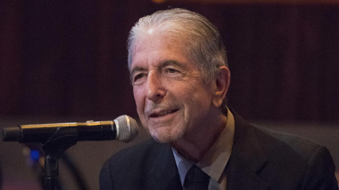 """Leonard Cohen attends a listening party for his new album """"Popular Problems"""" on Thursday, Sept 18, 2014 in New York. (Photo by Charles Sykes/Invision/AP)"""