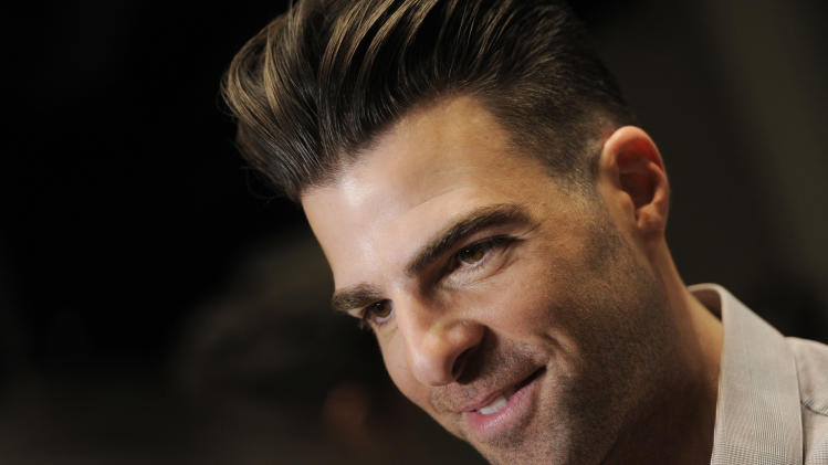 """Zachary Quinto, a cast member in """"Star Trek Into Darkness,"""" arrives at CinemaCon 2013's Opening Night Presentation from Paramount Pictures at Caesars Palace on Tuesday, April 15, 2013 in Las Vegas. (Photo by Chris Pizzello/Invision/AP)"""