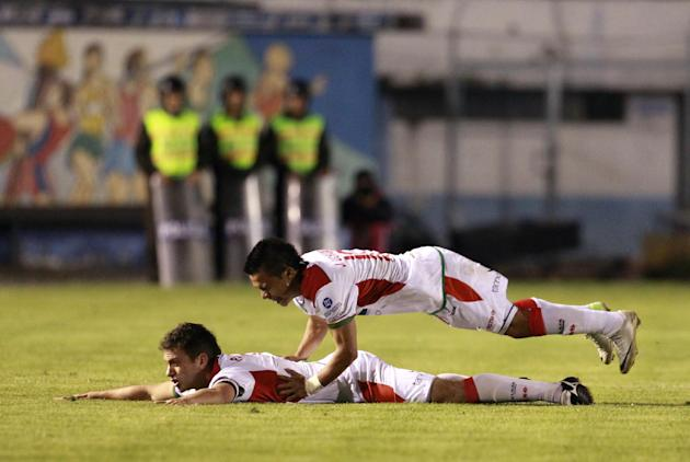 Liga Deportiva Universitaria de Loja's Pedro Larrea of Ecuador celebrates after scoring against River Plate of Argentina during a Copa Sudamericana  occer match in Loja, Ecuador, Thursday, Sept. 19, 2