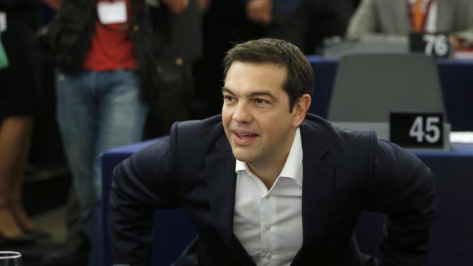 Greek Prime Minister Alexis Tsipras arrives to address the European Parliament in Strasbourg