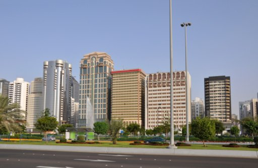 Street of skyscrapers in Abu-Dhabi