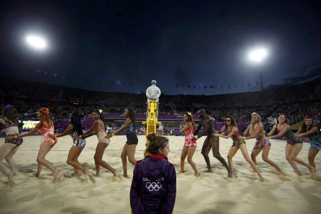 Dancers perform at Horse Guards Parade during the London 2012 Olympic Games