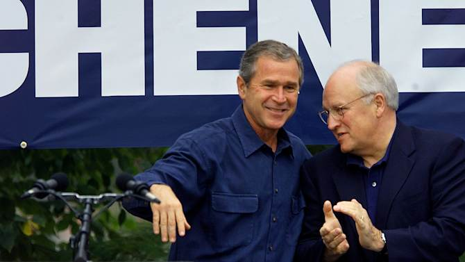FILE - In this file photo of Sept. 4, 2000, during his first run for president, Texas Gov. George W. Bush appears with his running-mate Dick Cheney in Naperville, Ill., where Bush used an expletive to describe a reporter while talking to Cheney, unaware an open microphone captured his remark. In the past two weeks the mayors of New York and Philadelphia and the governor of New Jersey let loose with a few choice vulgarities in otherwise G-rated public settings, but all three men knew full well the microphone was on. (AP Photo/Damian Dovarganes, File)