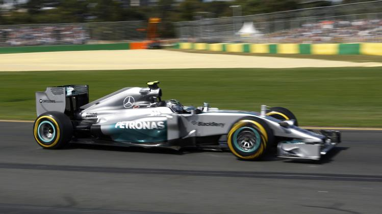 Mercedes Formula One driver Rosberg of Germany drives during the third practice session of the Australian F1 Grand Prix in Melbourne