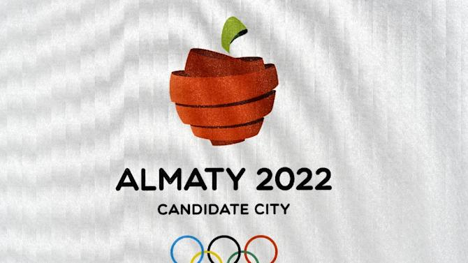 The logo of the Almaty 2022 Candidate City is seen on June 9, 2015 at the Olympic Museum in Lausanne