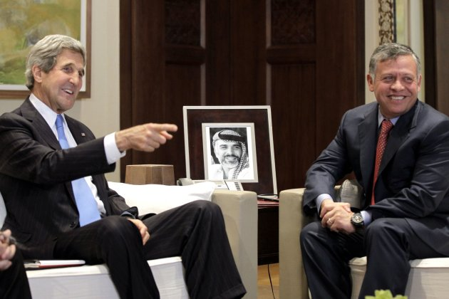 U.S. Secretary of State John Kerry meets with Jordan's King Abdullah II at the Royal Palace in Amman