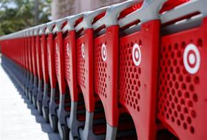 Shopping carts from a Target store are lined up in Encinitas