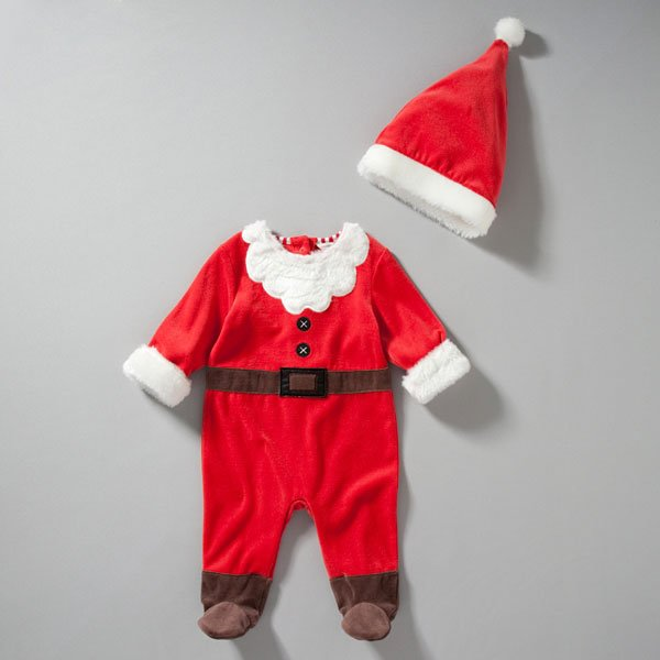 John Lewis Baby Novelty Santa Sleepsuit with Hat, Red