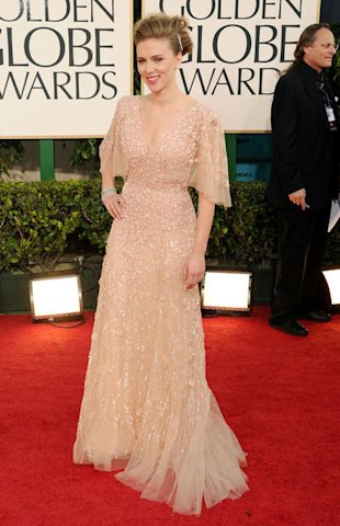 Scarlett Johansson channeled old hollywood glamour in a flutter sleeved Elie Saab with floral appliqué.
