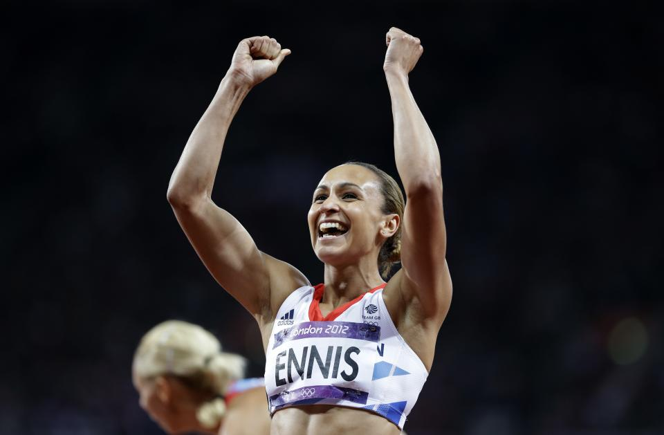 Britain's Jessica Ennis reacts after competing in a 200-meter heptathlon during the athletics in the Olympic Stadium at the 2012 Summer Olympics, London, Friday, Aug. 3, 2012. (AP Photo/Anja Niedringhaus)