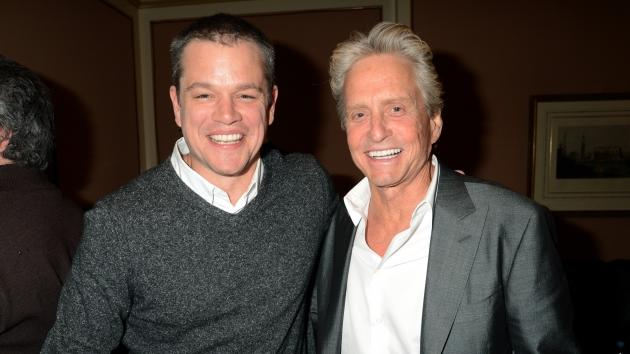 Matt Damon and Michael Douglas attend the HBO Winter 2013 TCA Panel at The Langham Huntington Hotel and Spa on January 4, 2013 in Pasadena, Calif. -- Getty Premium