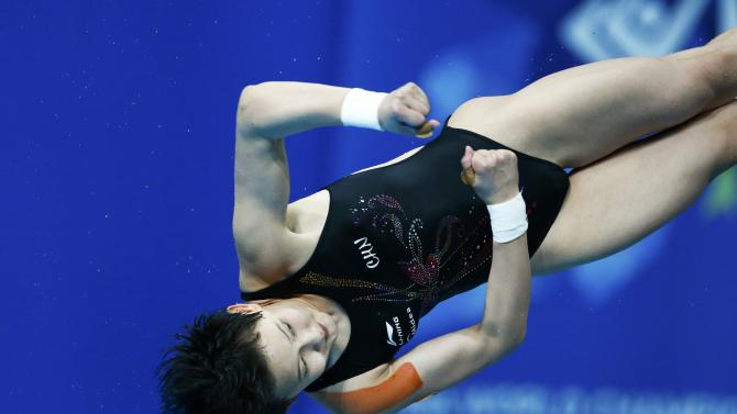Ren of China jumps during the women's 10m platform final at the Aquatics World Championships in Kazan