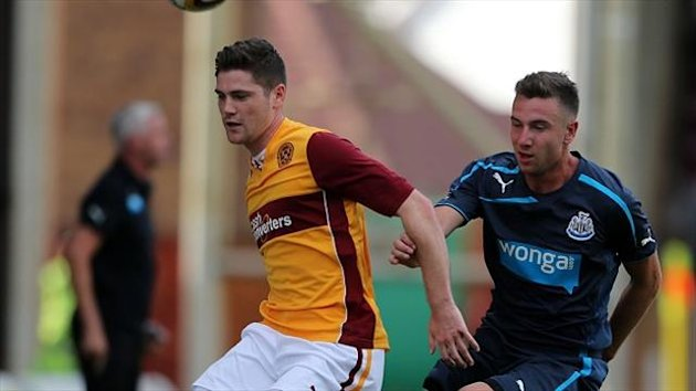 Iain Vigurs, left, scored for Motherwell against Newcastle on Tuesday night