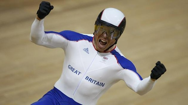 Chris Hoy celebrates after winning the gold medal in the men&#39;s sprint track cycling race at the Beijing 2008 Olympic Games