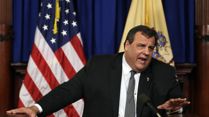 New Jersey Gov. Chris Christie answers a question Thursday, Jan.17, 2013, in Trenton, N.J. Christie said New Jersey is taking a more deliberative approach to gun control, mental health and school security by forming a task force to study the issues and make recommendations within 60 days. Christie refused to take a position on President Barack Obama's call for a federal ban on assault weapons. The governor was asked several times at the Statehouse news conference Thursday to weigh in on Obama's proposals for bans on assault weapons and magazines capable of holding more than 10 rounds. (AP Photo/Mel Evans)