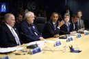 U.S. President Barack Obama visits the FEMA headquarters following Hurricane Sandy in Washington