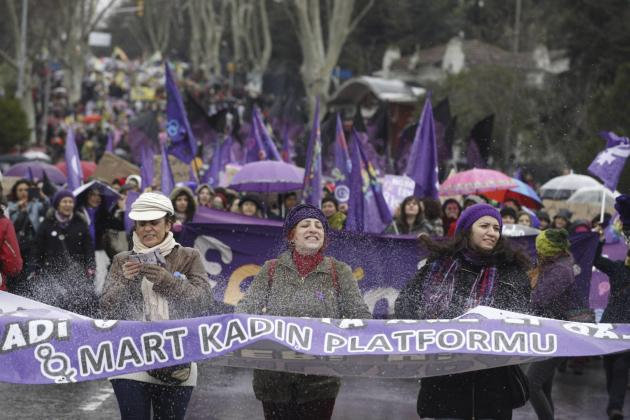 People protest against the government and violence against women, a day after International Women's Day in Istanbul
