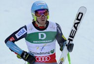 US Ted Ligety reacts after the first run of the men's Giant slalom at the 2013 Ski World Championships in Schladming, Austria on February 15, 2013. Ligety laid down a solid foundation for a third gold medal at the World Ski Championships with an outstanding first run in the men's giant slalom