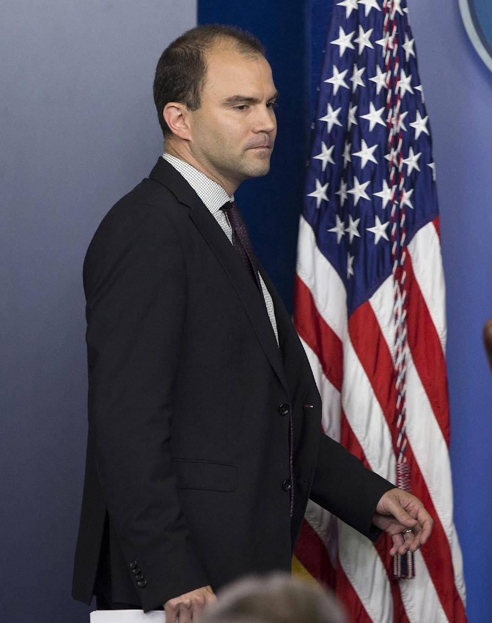 Deputy National Security advisor Ben Rhodes arrives for the daily press briefing at the White House in Washington, Friday, June 14, 2013. Rhodes discussed the ongoing conflict in Syria, and previewed the upcoming G8 trip. (AP Photo/Evan Vucci)