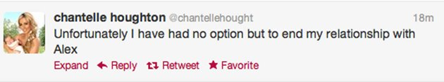 September 2012: Two days later Chantelle announces that the couple have split
