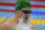 South Africa&#39;s Cameron Van der Burgh competes in the men&#39;s 100m breaststroke final swimming event at the London 2012 Olympic Games in London. Van der Burgh won gold