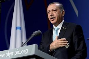 Turkish PM Erdogan speaks during the presentation by the Istanbul 2020 committee as a candidate to host the 2020 Summer Olympic Games, in Buenos Aires
