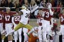 Stanford wide receiver Michael Rector (3) makes a catch next to Notre Dame cornerback Cole Luke during the first half of an NCAA college football game Saturday, Nov. 28, 2015, in Stanford, Calif. (AP Photo/Marcio Jose Sanchez)