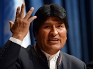<p>Evo Morales, President of Bolivia, speaks at a press conference to mark the Global Launch of the International Year of Quinoa on February 20, 2013 at UN headquarters in New York. Doctors for ailing Venezuelan leader Hugo Chavez refused to let Morales see his close ally when he went to Caracas this week, Morales said Wednesday.</p>