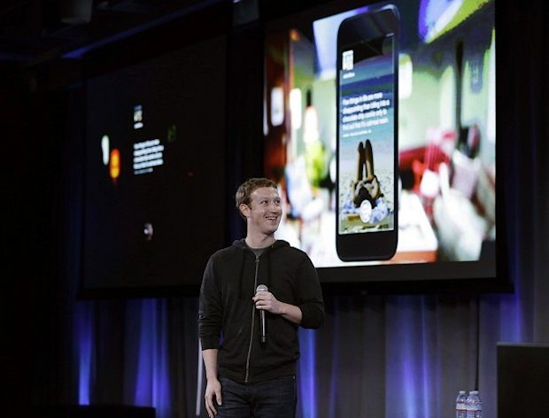 Facebook chief Mark Zuckerberg unveils what he called a 'new experience' for Android phones (AP)