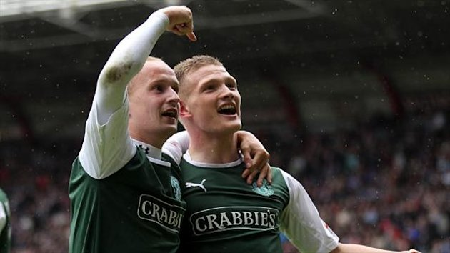 Ross Caldwell, right, scored Hibernian's winner against Hearts