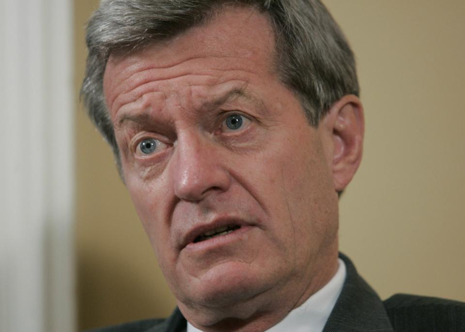 FILE - This Nov. 16, 2006 file photo, Sen. Max Baucus, D-Mont., is interviewed on Capitol Hill in Washington. Baucus says he opposes a Democratic gun-control bill but won't block a debate on the legislation. (AP Photo/Pablo Martinez Monsivais, File)