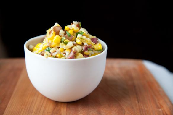Corn Salad with Cilantro Caramelized Onions