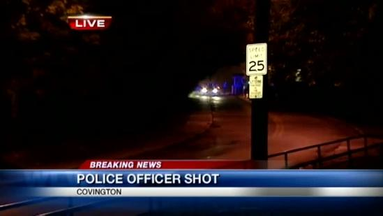 Gunman at large after Covington police officer shot