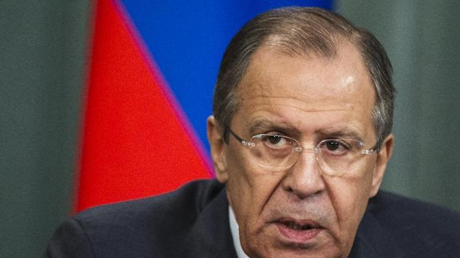 "Russian Foreign Minister Sergey Lavrov attends a news conference after his meeting with counterpart from Vanuatu Sato Kilman in Moscow, Russia, Tuesday, March 31, 2015. Russian Foreign Minister Sergey Lavrov says he is returning to the Iran talks, and says prospects for reaching agreement on a framework accord are ""good."" Diplomats face a midnight deadline Tuesday to conclude agreement on the outline of an Iran nuclear deal that would serve as the basis for a final accord by the end of June. (AP Photo/Pavel Golovkin)"