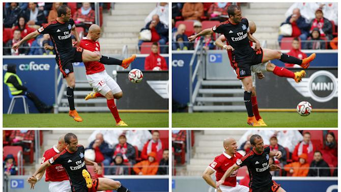 A combination of four pictures shows Hamburg SV's Rafael van der Vaart colliding with FSV Mainz 05 Elkin Soto during their German first division Bundesliga soccer match in Mainz